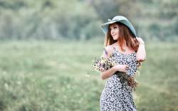 Lovely Girl Dress Hat Flowers