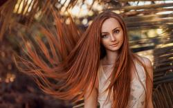 Lovely Girl Portrait Freckles Redhead Hair