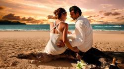 loving couple love beach sunset sea feelings hd widescreen wallpaper