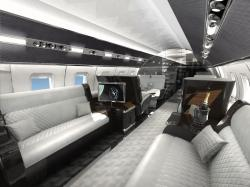 Dual media servers, high-definition video source equipment and a cabin audio system also keep business on track, even at Mach 0.925.