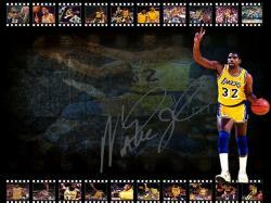 Magic Johnson LA Lakers Signed Wallpaper