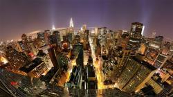 Manhattan at night Images Manhattan At Night In Fish Eye