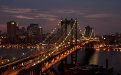 Manhattan Bridge New York City USA Night Photo