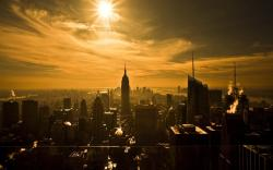 Wallpaper of manhattan sunset skyline