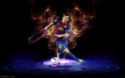 The forward of Barcelona Lionel Messi in dark background