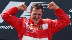 Michael Schumacher celebrates another win for Ferrari in 2002