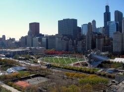 Millennium Park seen from 340 on the Park in 2007; the foreground is Richard J. Daley Bicentennial Plaza (also part of Grant Park).