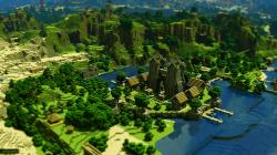 Preview wallpaper minecraft, trees, houses, mountains, water 3840x2160