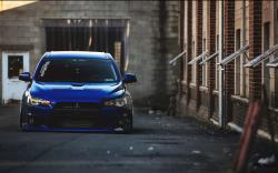 Mitsubishi Lancer Evolution X Blue Tuning Car