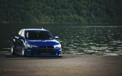 Mitsubishi Lancer Evolution X Blue Tuning Car Lake