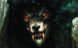 Monsters fantasy art red eyes wolves