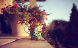 Mood Cup Tea Splash Flowers