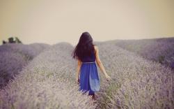 Mood Girl Brunette Dress Flowers Field