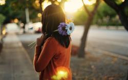 Mood Girl Brunette Flowers Street City