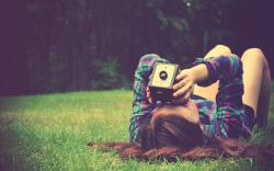 Mood Girl Camera Nature Grass Summer Photo