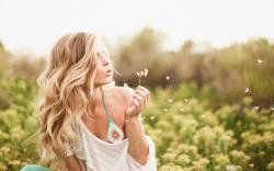 Blonde Girl Dandelion Summer Mood