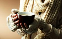 Mood Girl Hands Cup Mug Scarf Knitted Winter