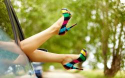 Mood Girl Legs Feet Shoes Car