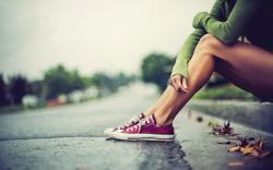 Girl Legs Road Rain Mood