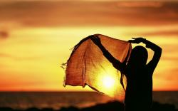 Mood Girl Scarf Sunset HD Wallpaper
