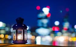 Mood Lamp Lantern Candle Stars City Bokeh
