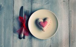 Mood Plate Knife Fork Heart Love Red