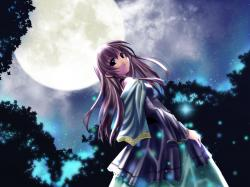 Anime Girl Under The Moon