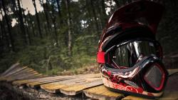 Motocross Racing Helmet Up Close Wallpaper picture