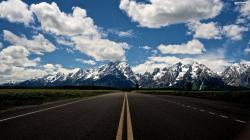 Snowy Mountain Road Wallpaper