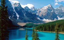 mountain lake background scenery photo trees