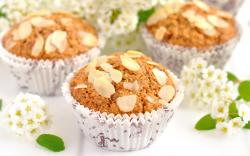 Muffins Almonds Flowers