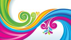 Multicolor vector swirls graphic art floral white background wallpaper
