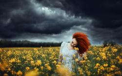 Nature Clouds Field Flowers Redhead Girl