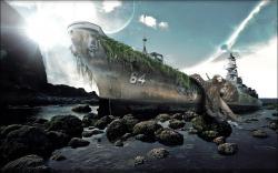 Surreal octopus navy wallpaper background