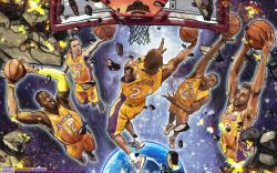 Los Angeles Lakers Starting 5 Wallpaper
