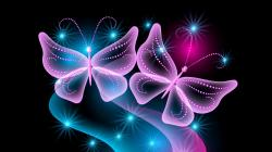 Preview wallpaper butterflies, neon, light, abstract, black background 1920x1080