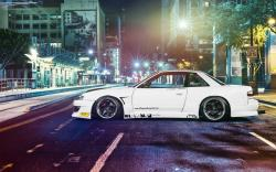 Nissan Silvia S13 Car Tuning Street Night