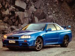 Nissan Skyline GT-R Nissan Skyline R34 blue cars 1600x1200