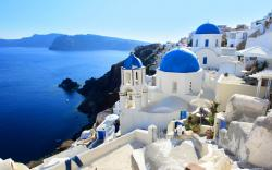 nature landscape sea houses Greece Santorini ocean buildings wallpaper background