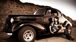 Antique Vintage Car And Girl Old Looking Photo Hd Desktop Wallpaper