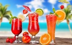 Orange strawberry peach cocktails