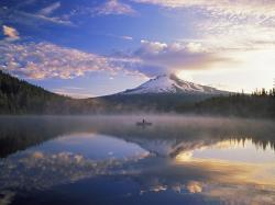 Mount Hood And Fisherman On Trillium Lake Oregon Wallpaper