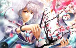 2560x1600 Wallpaper anime, girl, hood, brush, painting, drawing, art