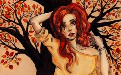 Painting Girl Freckles Redhead Tree Autumn