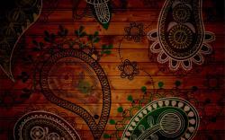 Paisley patterns wood panels 2560x1600