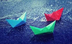 ... Colorful paper boats in the rain wallpaper 1920x1200 ...