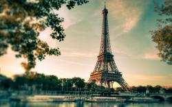 Paris Eiffel Tower France Sunset City River Photo