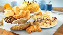 2048x1152 Wallpaper pastries, cakes, croissants, table