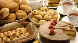 1920x1080 Wallpaper tea, pastries, cookies, cake, raisins