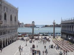 The Piazzetta di San Marco with the two columns in their centuries-old setting.